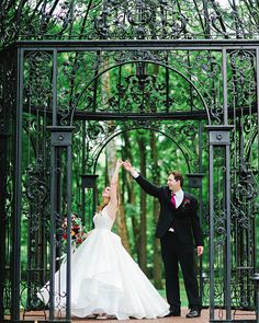 Bride and groom in the gazebo at Black Isis Estate Carmel Indiana