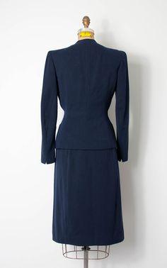 vintage 1940s suit 40s suit navy blue suit the by SwaneeGRACE