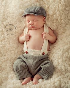 Newborn Boy Photo Prop,Cap and Newborn Longies with Suspenders,Newborn photo prop, Newborn Pants, Baby Boy ,  Shower Gift