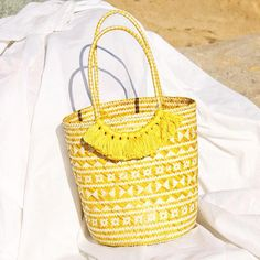 Borneo Maya Straw Tote Bag - in Yellow – Manor Summer Tote Bags, Tote Bags Handmade, Lipstick Holder, Straw Tote, Borneo, My Bags, Sustainable Fashion, Clutch Bag, Maya