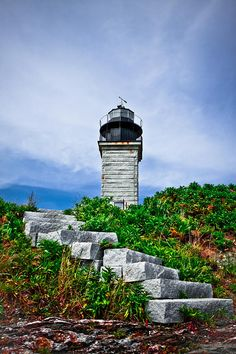Stairs by Beavertail Lighthouse in Jamestown, Rhode Island. #VisitRhodeIsland