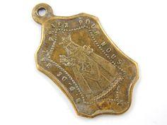 Antique French Notre Dame de Hal Catholic Medal - Bronze Religious Charm - Virgin Mary - Holy Virgin Medallion  by LuxMeaChristus