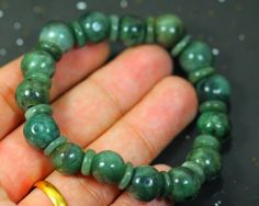 180.25Ct Natural Grade A Jadeite Jade 15-Bead Bracelet  NATURAL JADE GEMSTONE BRACELET   FROM GEMROCKAUCTIONS.COM