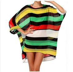 Super sell Sexy Womens Beach Cover Up Stripes Oversized Beach Swimsuit Cover-up Beach Wear Swimwear Dress
