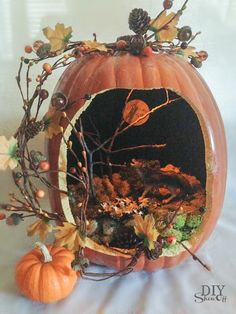 halloween pumpkin diorama this would be a really cool project for chloe in a couple years clipzine pages pinterest carving pumpkins - Halloween Diorama Ideas