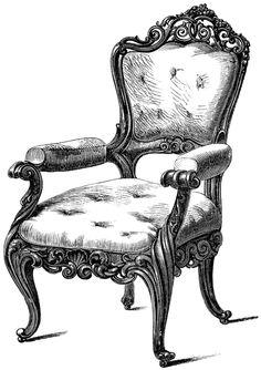 vintage chair clip art, black and white clipart, antique chair