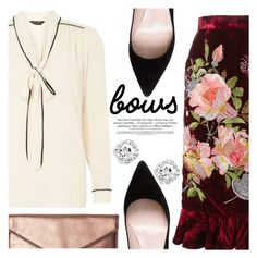 """BOWS BOWS BOWS!"" by chiclookdujour ❤ liked on Polyvore featuring Dorothy Perkins, Alice Archer, Rebecca Minkoff, Kate Spade, bows, velvet and necktieblouse"