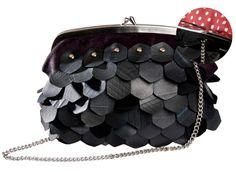A chic recycled tire handbag. The perfect purse for a night on the town!