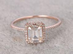 6x8mm Emerald Cut Moissanite Engagement Diamond Wedding Ring 14k Rose Gold Halo Antique Design