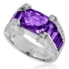 Amazing Amethyst and Diamond Engagement Ring from LeVian