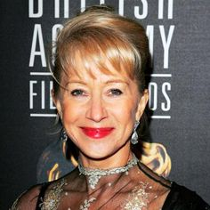 """Helen Mirren - 2005 """"Who has ever played the two Elizabeths in a lifetime, let alone in the same year?"""" asked the regal star of The Queen and Elizabeth II. Away from the palace(s), she wore her crowning glory in a retro pompadour. Helen Miran, Maroon Lips, Sleek Updo, Dame Helen, Coral Blush, Star Wars, Hollywood Star, Classic Hollywood, Aging Gracefully"""
