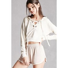 Forever21 Cropped Lace-Up Hoodie ($28) ❤ liked on Polyvore featuring tops, hoodies, oatmeal, forever 21 hoodies, lace up crop top, cropped hoodie, crop top and white hooded sweatshirt