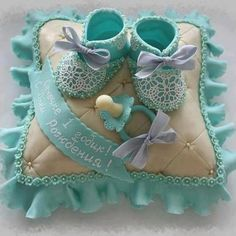 Baby Shower Cake with Booties, Pillow & Pacifier Gorgeous Cakes, Pretty Cakes, Cute Cakes, Amazing Cakes, Crazy Cakes, Fancy Cakes, Baby Shower Cakes, Baby Boy Shower, Pillow Cakes