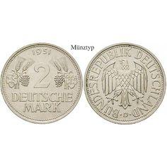 Bundesrepublik Deutschland, 2 DM 1951, Ähren, F, vz-st, J. 386: Kupfer-Nickel-2 DM 1951 F. Ähren. J. 386; vorzüglich-stempelfrisch… #coins
