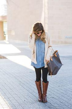 chambray shirt + leggings + cardigan + boots
