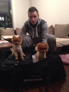 Chicago Blackhawks: Marko Dano and his girlfriend's two dogs. Always wanted a Pomeranian as a child, but we got stuck with a dingo - looking mutt that didn't understand personal space. Chicago Blackhawks Players, Alaska Aces, Tyler Seguin, Two Dogs, Personal Space, Pomeranian, Nhl, Beautiful Men, Hockey