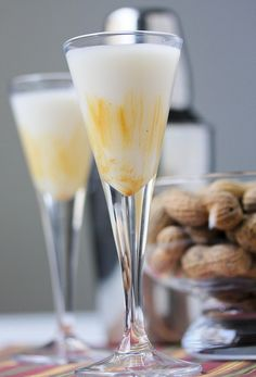 """Peanut Buttery Shot--I usually don't list all ingredients, but the recipe can't be found on the site and this is way too scrumptious to let pass. So enjoy my darlings! 1 oz. vanilla vodka, 1oz. Irish cream, 1oz. milk, 1/2oz. butterscotch schnapps, & creamy peanut butter. Prepare shot glasses. With a pastry brush, """"paint"""" the inside of two shot glasses with a little peanut butter.  Fill a cocktail shaker halfway with ice, add vanilla vodka, Irish cream, milk, and butterscotch schnapps."""