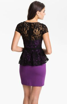Black violet quartz lace overlay peplum dress. 82