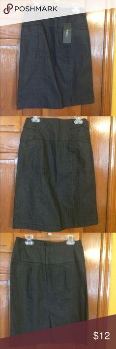 NWT, Grey Skirt W/Silver pinstripes & gathers NWT, Grey Skirt W/Silver pinstripes & gathers on the side, w/ zipper & Split in back. Rhapsody Skirts Midi