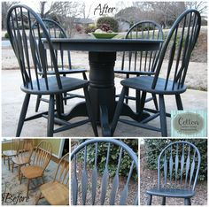 Before and After of dining set and chairs painted in Annie Sloan Chalk Paint® Graphite, distressed and finished in Dark Wax to create a great antique look.
