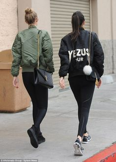 Same but different: The only difference in their jackets was Kendall's was emblazoned with...