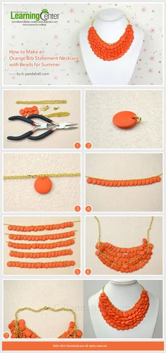 How to Make an Orange Bib Statement Necklace with Beads for Summer