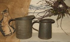 2 Vintage Tin Pitchers U.S. KREAMER INC./QT FOR HOUSEHOLD USE ONLY 1940s
