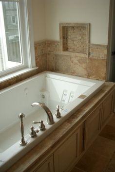 "Traditional Master Bathroom with Standard height, drop in bathtub, Bathtub, specialty door, 12"" x 12"" porcelain tile, Paint"