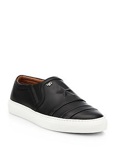 Givenchy Star Embossed Leather Slip-On Sneakers