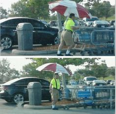 Push Shopping Carts in The Shade with a Giant Umbrella from Walmart - Funny Pictures at Walmart