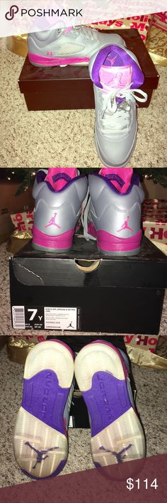 Girls Air Jordan 5 Retro (GS) WORN ONCE. Grey, pink, raspberry and purple colored Jordan's. Size  7Y / UK 6 / EUR 40 / CM 25 / BR 38 Jordan Shoes Athletic Shoes