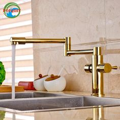 Golden Folding Neck Deck Mounted Brass Kitchen Mixer Taps Dual Handle Hot and Cold Water Faucet #Affiliate