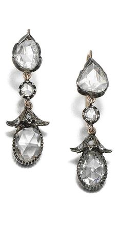 PAIR OF DIAMOND PENDENT EARRINGS Each articulated drop set with rose-cut diamonds, hook fittings, 19th century composite.