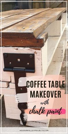 Check this post out for a quick pallet coffee table makeover with chalk paint. Easy furniture makeover that I did to my upcycled coffee table in one afternoon. Check how I got this distressed look using paint on wood so you can do it too! #coffeetablemakeoverchalkpaint #upcycledpalletcoffeetable #distressedlook Wooden Pallet Projects, Woodworking Projects Diy, Wooden Pallets, Diy Projects, Furniture Painting Techniques, Paint Furniture, Furniture Makeover, Coffee Table Makeover, Painted Coffee Tables