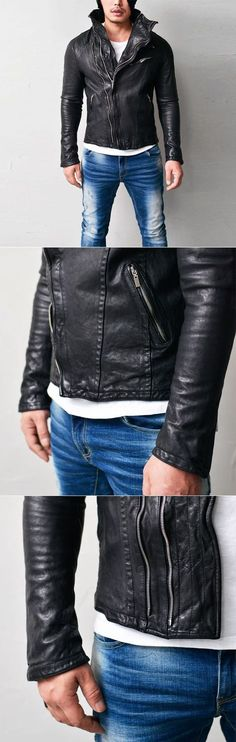 Outerwear :: Leather Jackets :: Asymmetic Wired Highneck Lambskin-Leather 109 - GUYLOOK Men's Trendy Fashion Clothing Online