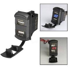 Only US$9.99, buy best 12V 4.2A Dual USB Charger LED Voltmeter Voltage Meter…