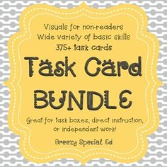 Using visual task cards to help teach students with special needs various life skills - great for TEACCH boxes, independent work, and direct instruction!