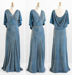 Evening Gown: ca. 1930's, custom made of bias cut lamé fabric, attached cape falls around the shoulders and drapes in the back, artful gathers at the front of the bust and across the hips.