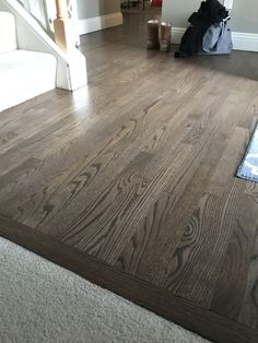 Hardwood floors refinished in espresso and grey #DIYFloorRefinishing