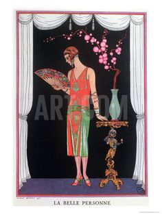 Worth Evening Dress, Fashion Plate from Gazette Du Bon Ton, 1925 Giclee Print by Georges Barbier
