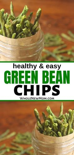 These Crispy Green Bean Chips a great healthy snack that's easy to make and a great way to get veggies into your diet! || Whole New Mom Dehydrated Green Beans, Crispy Green Beans, Healthy Green Beans, Dehydrated Food, Veggie Snacks, Veggie Chips, Healthy Snacks, Paleo Chips, Healthy Chips