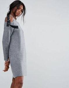 ASOS Knitted Dress with Strap Shoulder Tie Detail