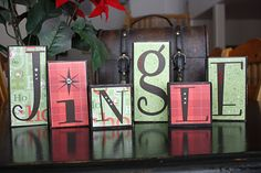 Wood blocks decorated for christmas
