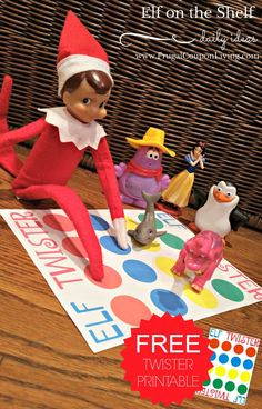 FREE Elf on the Shelf Printable Twister Board. Dozens of Easy, Funny and Creative The Elf on the Shelf Ideas found on Frugal Coupon Living.