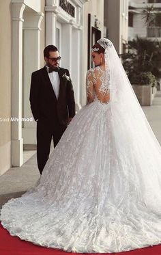 Luxo princesa vestido de casamento vestido de pura ver através de vestidos de casamento vestido de noiva com manga BO7158