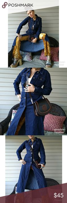 Gorgeous 90s dark Indigo denim duster/coat This is a great well tailored piece by xoxo with button front, pockets and a cinched in waist. So 70s chic and in like new condition. Labeled size medium but as with most vintage it runs small. Would fit a 2/4 best. Vintage Jackets & Coats