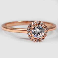 14K Rose Gold Halo Diamond Ring // Set with a 0.43 Carat, Round, Very Good Cut, H Color, SI1 Clarity Diamond #BrilliantEarth