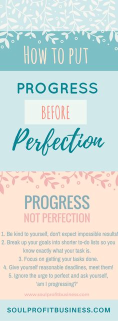 Learn how to put progress before perfection and why you should! Get productive and work towards your goals and success. Don't waste time on menial tasks that distract you and keep you from reaching your goals! Get my 50 Tips for Motivation and Free Focus and Motivation workbook :)