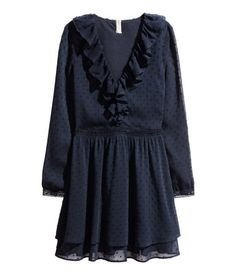 H&M Plumeti Chiffon Dress $50 :: Dress in airy, crinkled plumeti chiffon with a ruffle-trimmed V-neck. Long sleeves with narrow lace cuffs with buttons, seam at waist with lace insets, and double-layered circle skirt with concealed side zip. Lined.