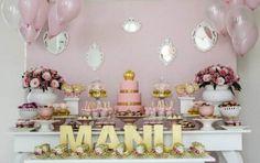 decoracao rosa e dourado